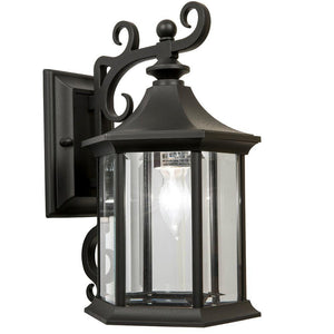 Newport Crest 7787-07B 1-Light Black Outdoor Wall Lantern