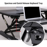 "Loctek LXR36B Standing Desk - 36"" Desk Riser, Wide & Quick Release Keyboard Tray, Computer Riser with USB Ports"