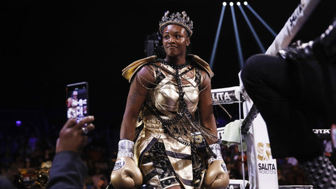 Claressa Shields Boxing CHampion outfit by Cosmo and Donato