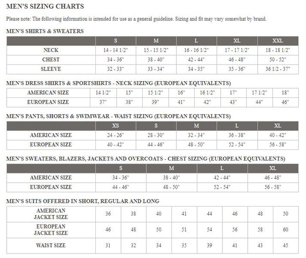 mens general size chart at Cosmos Glamsquad