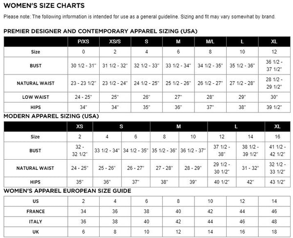 womens size chart at Cosmos Glamsquad