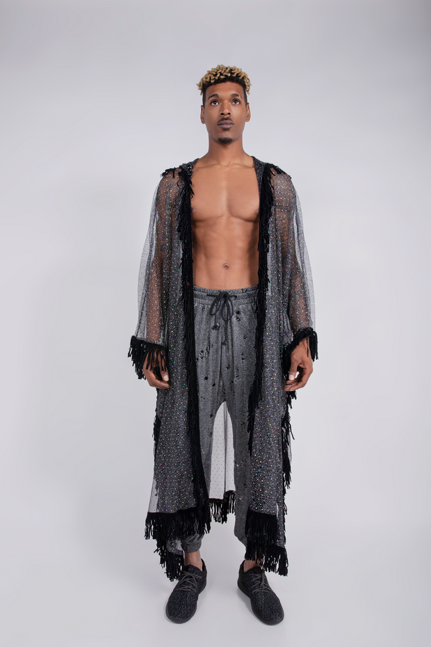 MESH SEQUIN HOODED ROBE - UNISEX