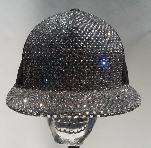 COUTURE MESH SNAPBACK CAP - SILVER CRYSTALS