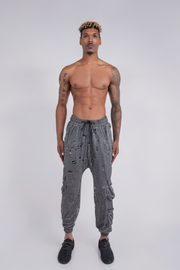 DISTRESSED CARGO JOGGER SILVER KNIT - MENS
