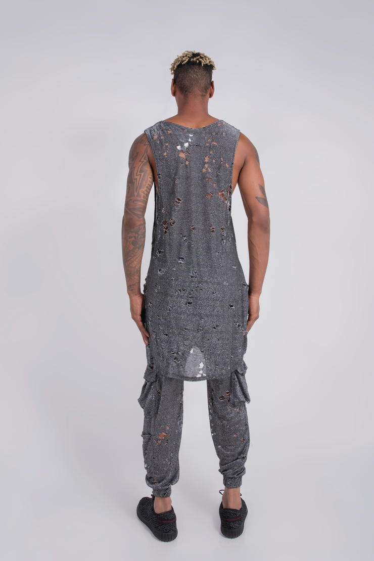 DISTRESSED MUSCLE TANK TOP SILVER KNIT - MENS