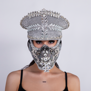 "CD CRYSTAL COMMANDER HAT ""SILVER GLASS"" - COUTURE"