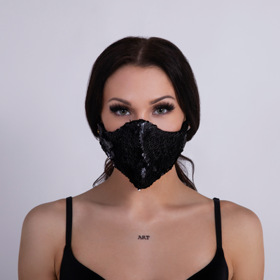 MERMAID SEQUIN FACEMASK BLACK