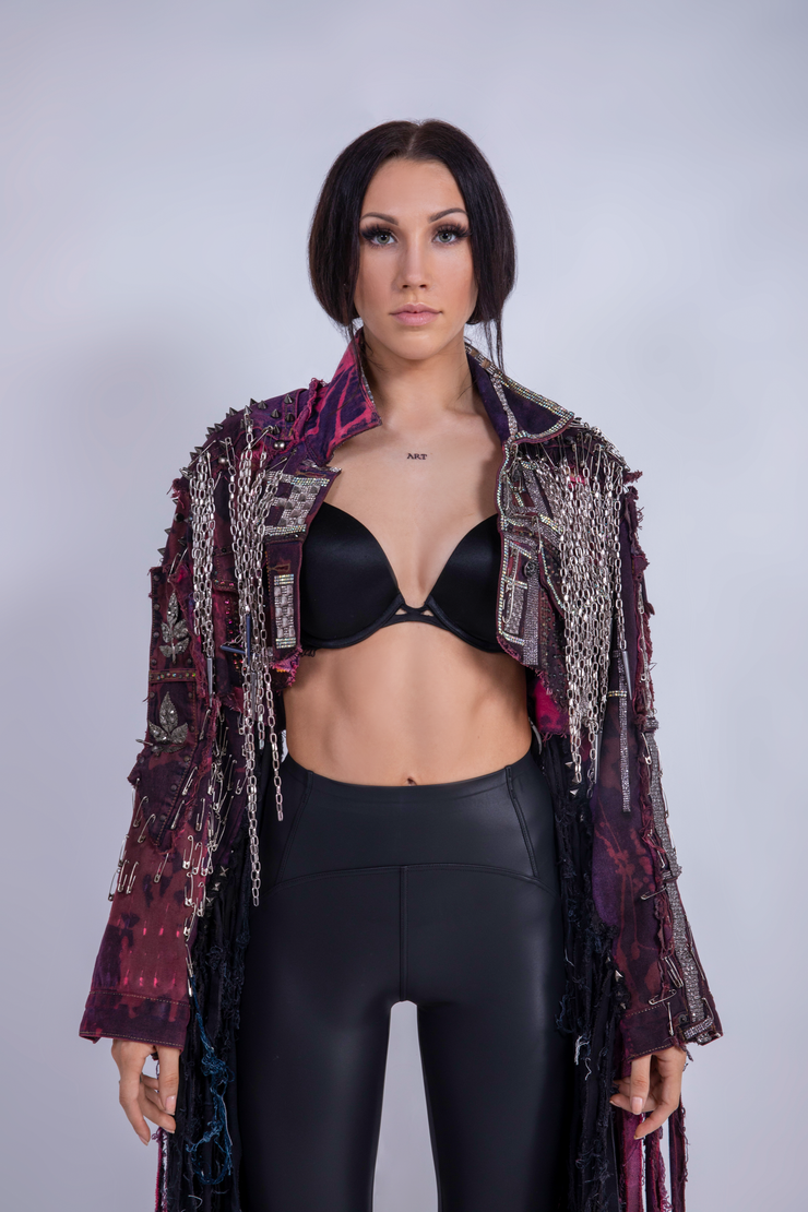 SHREDDED DENIM JACKET PURPLE CRYSTALS - UNISEX
