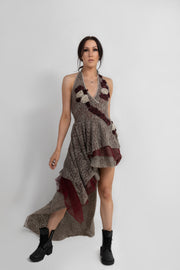 """LUCKY STAR"" DRESS EARTH/BURGUNDY - GUEST DESIGNER"