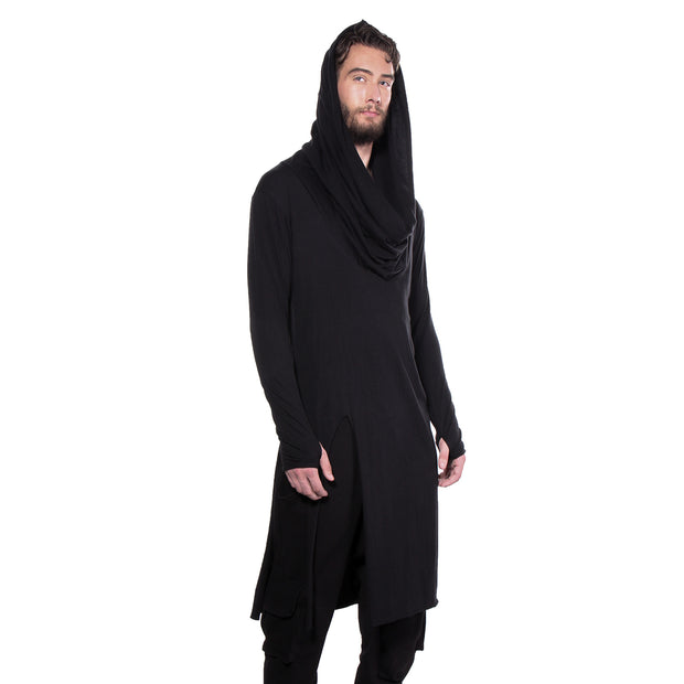 "CD ""GRACE"" INFINITY HOODED LONG T BLACK - UNISEX - cosmos-glamsquad"