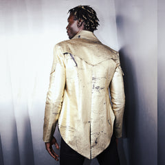"""RODOLFO"" MILITARY JACKET CRACKLED GOLD DENIM- MENS"