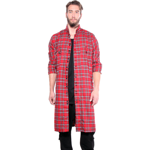 "CD FLANNEL ""SHIRT COAT""  RED TARTAN - MENS - cosmos-glamsquad"