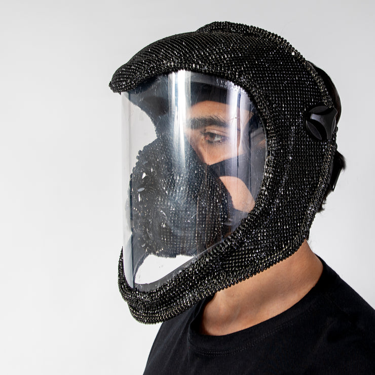 "CD ""WELDER"" CRYSTAL COVERED FACE MASK - COUTURE"
