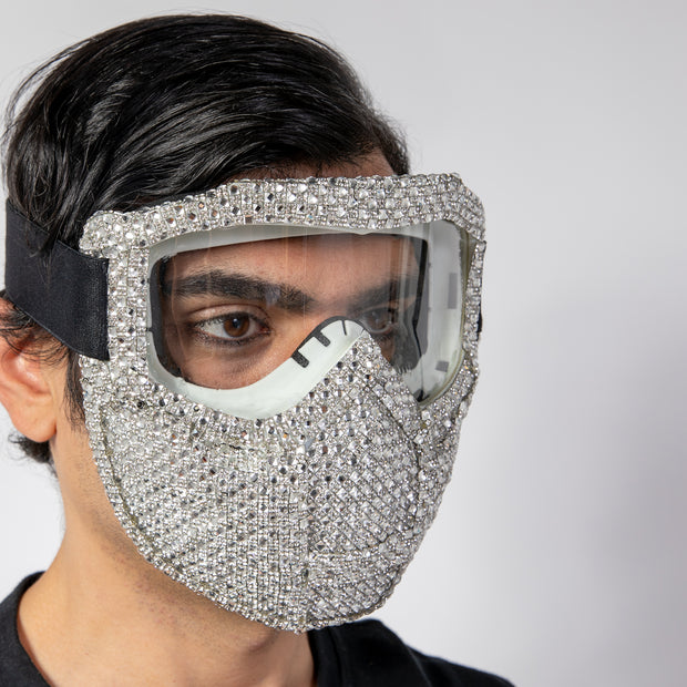 CD GEMSTONE COATED SKI MASK SILVER - COUTURE