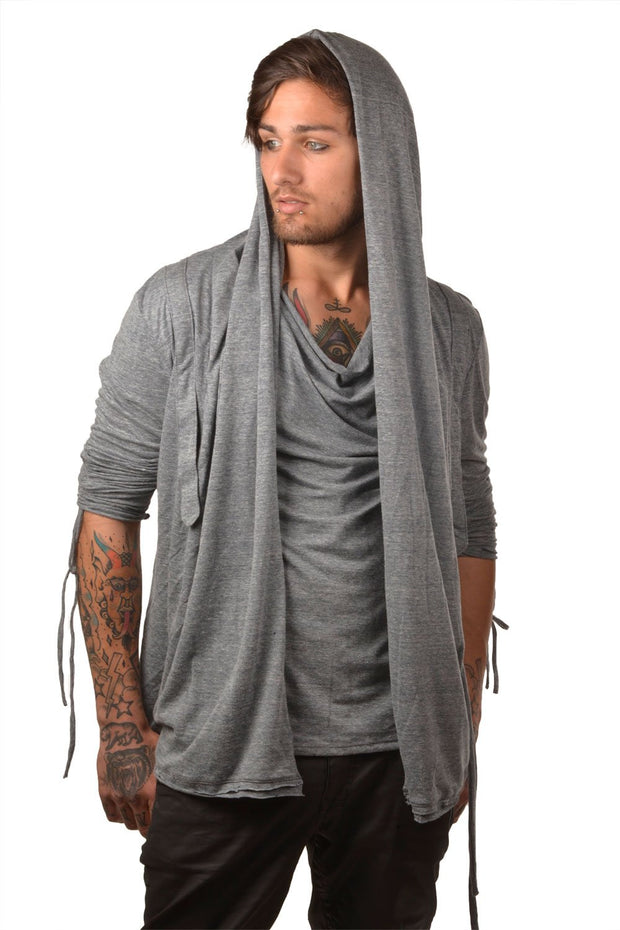 """TIRAS"" RUCHED SLEEVE JERSEY CARDIGAN - MENS"