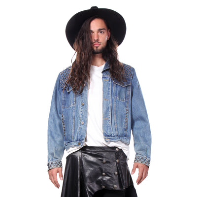 RIVET STUDDED DENIM TRUCKER JACKET -  MENS