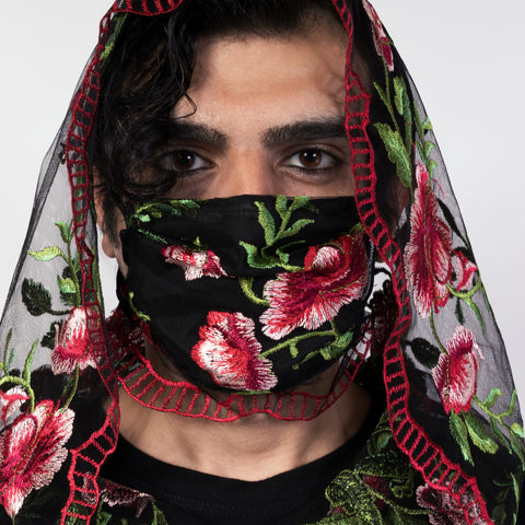 FLORAL EMBROIDERED FACE MASK