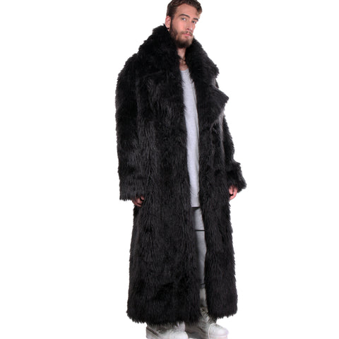 CD FAUX FUR COAT FULL LENGTH BLACK - MENS - cosmos-glamsquad