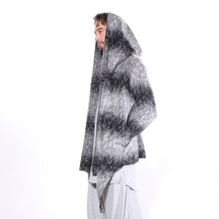 """ITALIAN"" HOODED SWEATER JACKET - MOHAIR - cosmos-glamsquad"