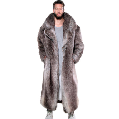 CD FAUX FUR COAT FULL LENGTH LIGHT BROWN - MENS - cosmos-glamsquad