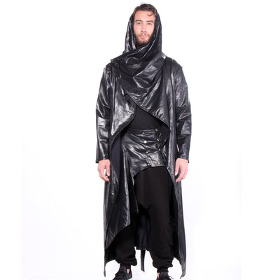 """CLINT"" CLOAK FAUX LEATHER BLACK - MENS - cosmos-glamsquad"