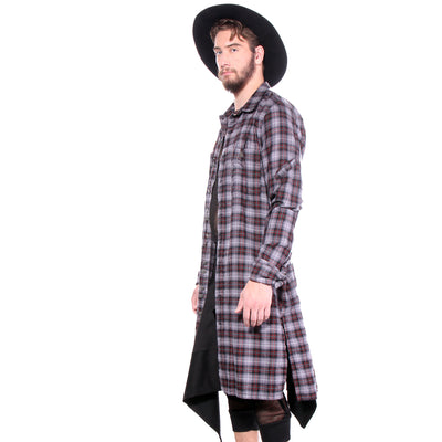 "CD FLANNEL ""SHIRT COAT""  GREY PLAID - MENS - cosmos-glamsquad"