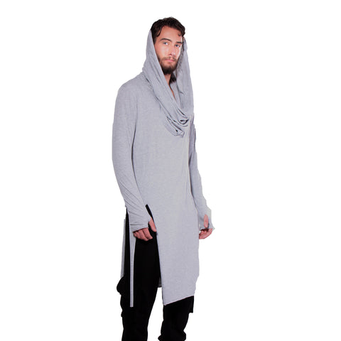 "CD ""GRACE"" INFINITY HOODED LONG T GREY - UNISEX - cosmos-glamsquad"