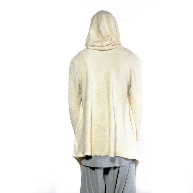 """ITALIAN"" HOODED SWEATER JACKET OFF WHITE - TWILL KNIT - cosmos-glamsquad"