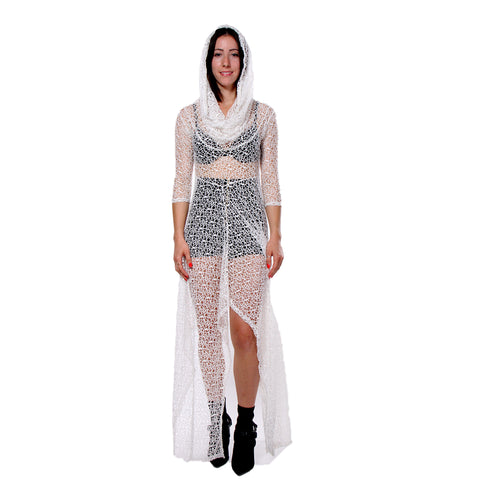 """JERAF"" SHEER LACE DRESS WHITE - WOMENS"