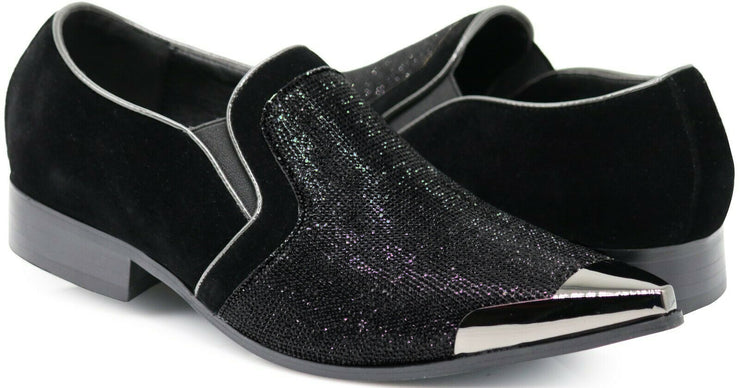 RHINESTONE LOAFER BLACK - MENS FOOTWEAR