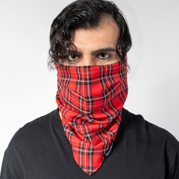 """OUTLAW"" FACE GAITER - RED PLAID"