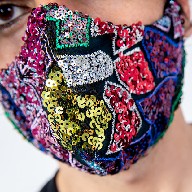 CD SOFT CURVE FACE MASK - SEQUIN PATCHWORK