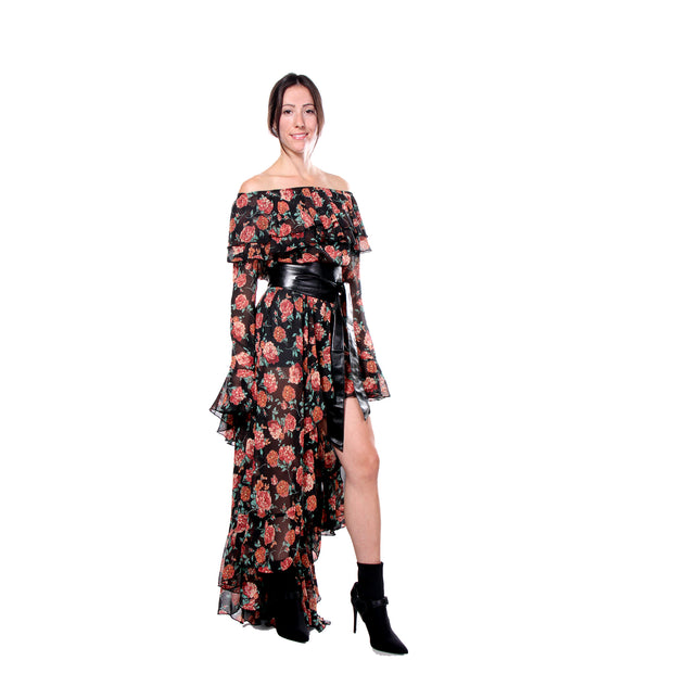 """NICOLE"" DRESS  BLACK FLORAL - WOMENS"