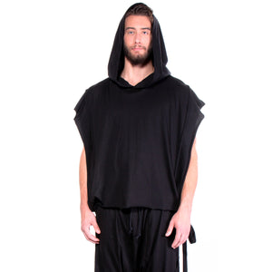 CD SQUARE-CUT HOODIE SLEEVELESS BLACK - UNISEX - cosmos-glamsquad