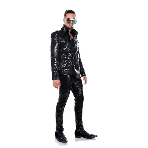 "BLACK SEQUIN ""ROCK N' ROLL"" SUIT - MENS OCCASION"