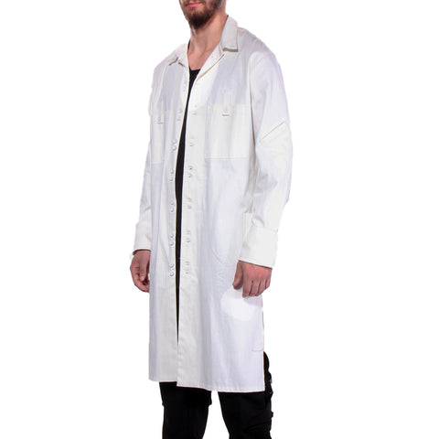 "CD LONG ""SHIRT COAT"" STRETCH TWILL OFF WHITE - MENS - cosmos-glamsquad"