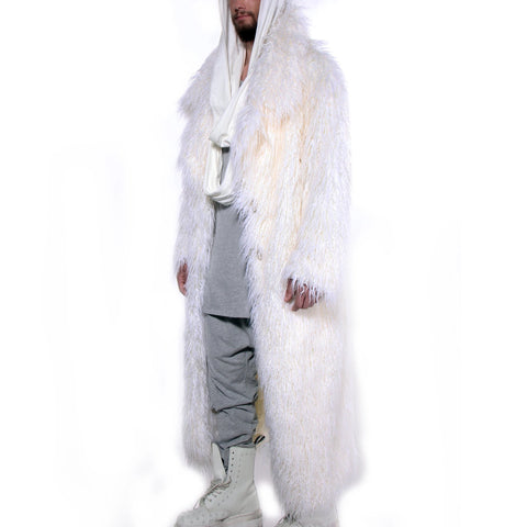 CD FAUX FUR COAT FULL LENGTH WHITE- MENS - cosmos-glamsquad