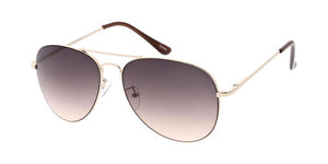 Women's Metal Standard Aviator Sunglasses w/ Two Tone Lens