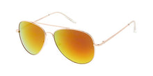 Metal Aviator Spring Temples Gold Frame Sunglasses w/ Color Mirror Lens