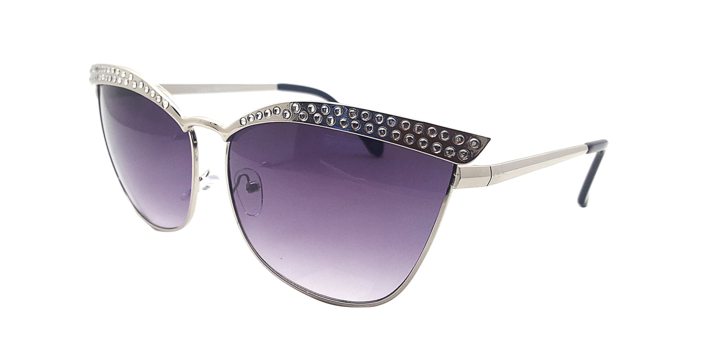Women's Metal Top Brow Cat Sunglasses w/ Rhinestones