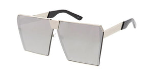 Oversize Square Frame Sunglasses W/ Color Mirror Lens