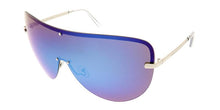 Women's Metal Oversize Shield Sunglasses w/ Color Mirror Lens