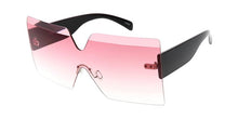 Square Diamond Cut Rimless Shield Sunglasses