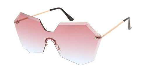 Geometric Diamond Cut Shield Sunglasses w/ Two Tone Lens