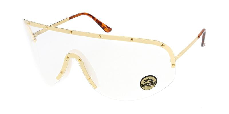 Oversize Shield Sunglasses w/ Clear Lens