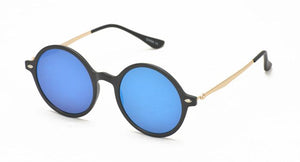 Plastic Medium Round Thin Frame Sunglasses w/ Color Mirror Lens