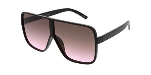 Plastic Square Frame Sunglasses w/ Two Tone Lens