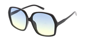 Women's Plastic Large Rounded Square Frame Sunglasses w/ Two Tone Lens