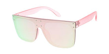 Women's Plastic Large Square Shield Sunglasses w/ Color Mirror Lens