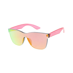 Unisex Color Block Square Frame Sunglasses w/ Color Mirror Lens